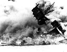 USS Arizona burning after the explosion